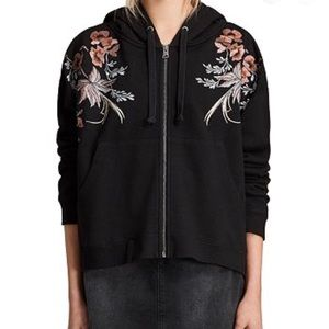 Allsaints Washed Black Margot Embroidered Hoody
